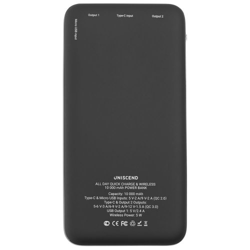 Aккумулятор Uniscend Quick Charge Wireless 10000 мАч, черный